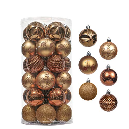Valery Madelyn 30ct 60mm Woodland Copper Gold Shatterproof Christmas Ball Ornaments Decoration, Themed with Tree Skirt (Not Included)