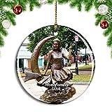 Weekino Estados Unidos América Salem embrujada Estatua de Elizabeth Montgomery Decoración de Navidad �rbol de Navidad Adorno Colgante Ciudad Viaje Colección de Recuerdos Porcelana 2.85 Pulgadas