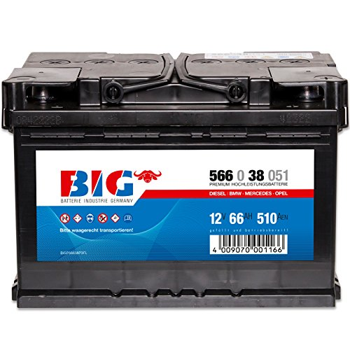 Autobatterie 12V 66Ah BIG Starterbatterie ersetzt 55Ah 60Ah 62Ah 63Ah 70Ah 72Ah