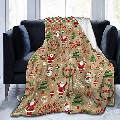 Christmas Collage - Coperta ultra morbida in micro pile, per adulti o bambini, 203 x 152 cm