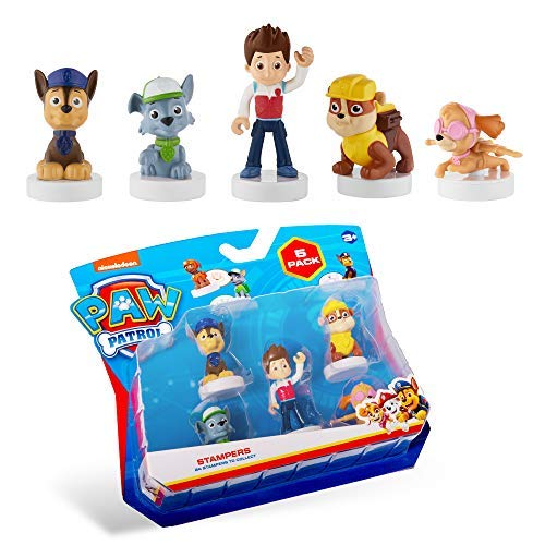 PAW Patrol Blister 5-Pack Figures with Stampers – Mess-Free, Paw Patrol Birthday Cake Toopers Decorations, Party Favors – Including Skye and Rubble – Mini Figurines Stand 2.5 to 3 in. Tall