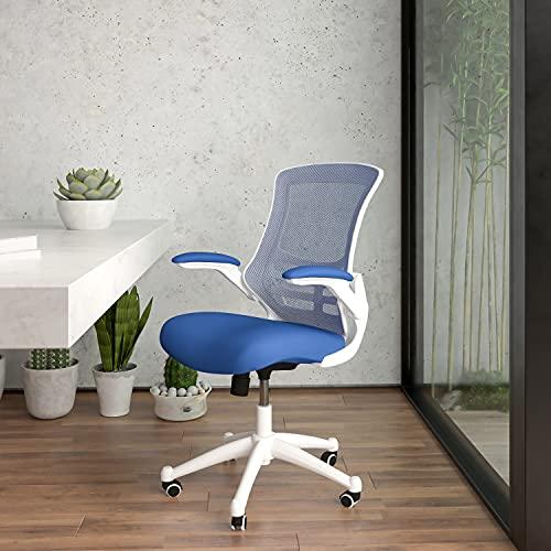 Flash Furniture Silla de Oficina, gomaespuma, Blue Mesh Frame White, 64.77 x 62.23 x 104.78 cm