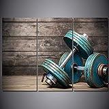 FYBSNDY Moderne Dekoration Poster Malerei 3 Stücke Hd Druck Hantel Fitness Bodybuilding Gym...
