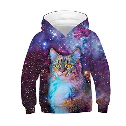 BaZhaHei Sweat-Shirt Fille Garçon pour Casual Enfant à Capuche Fantaisie 3D Polaire Chat Cat...