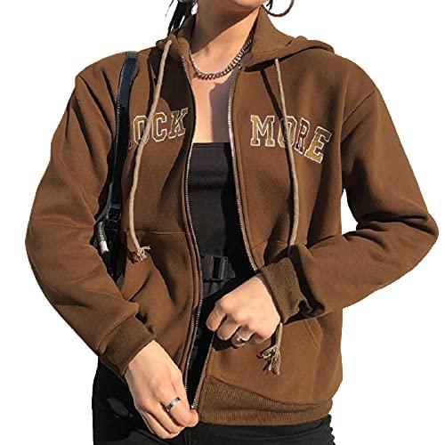 Y2K - Sudadera de manga larga con cremallera para mujer, Letra marrón, M