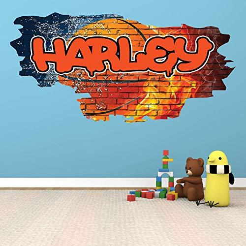 HQQPA Póster de pegatinas de pared 3D Baloncesto Graffiti nombre personalizado vinilo pared pegatina bricolaje habitación Smashed Wall Decal Gráfico