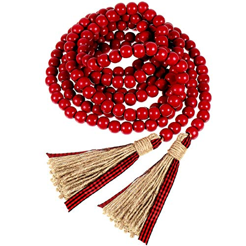 11 Feet Christmas Wooden Beads Garland Vintage Red with Buffalo Plaid Tassels Rustic Beads Tassel Hanging Garland Farmhouse Beads Ornament with Buffalo Plaid Tassels for Wall Hanging Home Ornaments