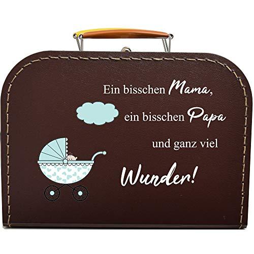 Pappkoffer zur Geburt, Kinderwagen & Spruch Koffergröße 20 x 14,5 x 8 cm, Farbe braun