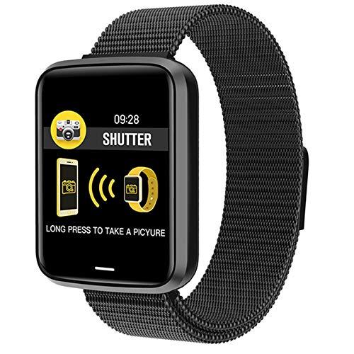 YDK Pulsera Inteligente Monitor De Ritmo Cardíaco Monitor De La Presión Arterial Fitness Fitness Impermeable Pedómetro Reloj Deportivo para Android iOS Hombres Y Mujeres,B