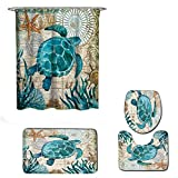 Fiaya 3Pcs /4PCS Stone Pattern Ocean Tortoise Bathroom Set Rug Contour Mat+Toilet Lid Cover +Plan Solid Color Bath Mats +Shower Curtain (4PCS, Green Tortoise AA)