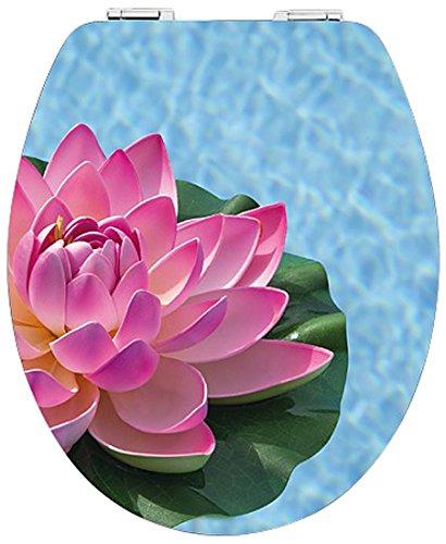 DIAQUA-abattant wC-brillant-avec système de fermeture amortie slow motion motif lotus en mDF 100% fSC, 47 x 37,8 cm 31171701