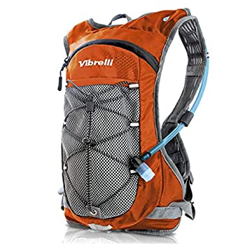 Vibrelli Hydration Pack & 2L Hydration Water Bladder - High Flow Bite Valve - Hydration Backpack with Storage - Lightweight Running Backpack Also for Cycling Hiking Ski Snow for Men Women & Kids