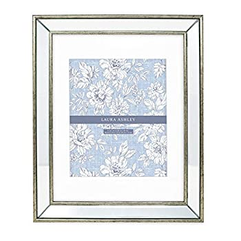 Laura Ashley 11x14  Matted 8x10  Silver Beveled Mirror Picture Frame Classic Mirrored Frame with Deep Slanted Angle Wall-Mountable Made for Photo Gallery and Wall Art  11x14  Matted 8x10  Silver