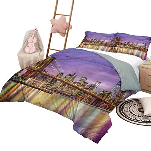 Juego de sábanas Twin Size New York Colchas Coverlet Broadway Scenery NYC