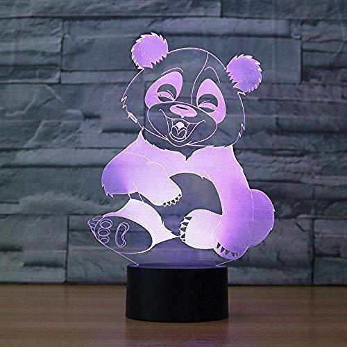 Nieuwe 3D Panda Nachtlampje Illusion Lamp 7 Kleurverandering Led Touch Usb Tafelcadeau Kinderspeelgoed Decoraties Decoraties Kerst Valentines Gift