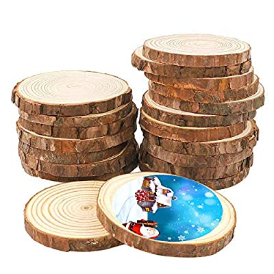 MaiTaiTai Natural Wood Slices 3.0-3.5 Inches Craft Wood Kit Unfinished