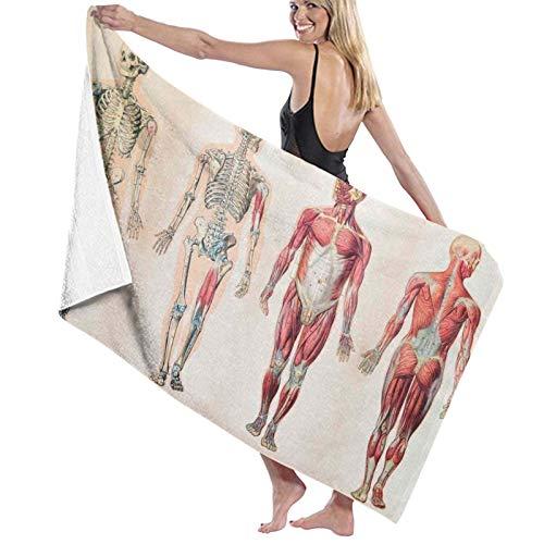 Grande Suave Ligero Microfibra Toalla de Baño Manta,Impresión del Cuerpo Humano de anatomía Vintage,Hoja de Baño Toalla de Playa por la Familia Hotel Viaje Nadando Deportes,52' x 32'