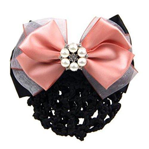 2 pièces bowtie maille élastique Bun couvre cheveux barrette poils cheveux pour dames,Rose