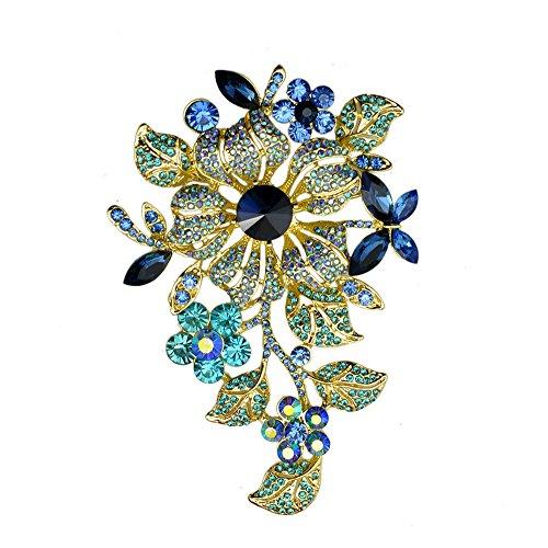 T&T Jewelry ttjewelry Elegante Cristal Austriaco Flor Broche Pin romántica Boda Novia Dama Rhinestone