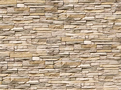 wandmotiv24 Fototapete Asia Stone Natur Größe: 350 x 260 cm Wandbild, Motivtapete, Vlietapete Naturstein Asien Steinmauer KTk239