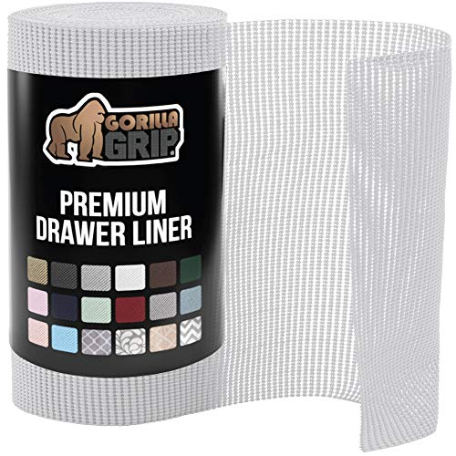 Gorilla Grip Original Drawer and Shelf Liner, Strong Grip, Non Adhesive, Easiest Install, 20 Inch x 20 FT Roll, Durable and Strong Liners, Drawers, Shelves, Cabinets, Storage, Kitchen, Light Gray