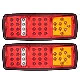 Qiilu Auto Bloques de luz trasera, 1 par de luces LED de señal de giro Luz trasera de marcha atrás para camión de remolque de 12 V
