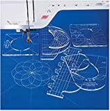YICBOR New Ruler Template Sampler Set for Domestic Sewing Machine 1 Set = 6pcs #RL-06 with Metal Frame Quilting Embroidery Sewing Machine Ruler Foot (RL-06(2.9mm)+Low Shank Ruler Foot)