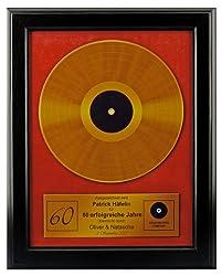 Goldene Schallplatte personalisiert mit Name als Bild im Holzrahmen 48 x 38 cm - Geschenk zum 60. Geburtstag für Mann oder Frau