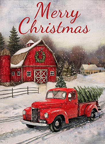 Selmad Home Decorative Merry Christmas Garden Flag Red Truck Double Sided, Winter Rustic Quote House Yard Flag Xmas Pickup, Outside Holiday Yard Decorations, Horses Seasonal Outdoor Flag 12 x 18