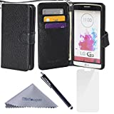 G3 Case, Wisdompro Premium PU Leather 2-in-1 Folio Flip Wallet Protective Case Cover Built-in Credit Card Holder Slots and with Wrist Lanyard for LG G3- Black with Lanyard(Not fit LG G3 Vigor)