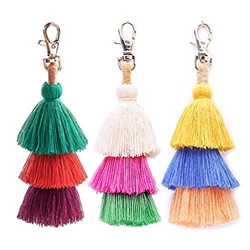 BRUCEWANG Hand Made Colorful Bohemian Pom Pom Tassel Handbag Charms key chain women-Gift (Style G)