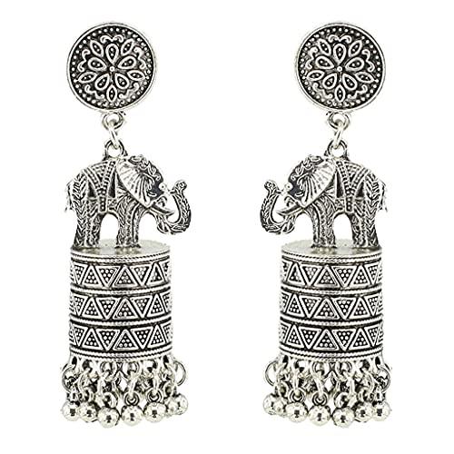 SOFEA Pendientes para mujer, 1 par de pendientes retro étnicos indios elefante borla colgantes pendientes vintage joyería regalo