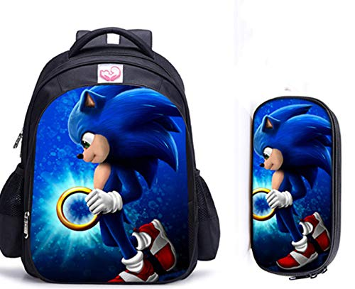 Sonic Cartoon Pack 2pcs/Set Sonic The Hedgehog Print - Bolsas escolares para adolescentes y niñas