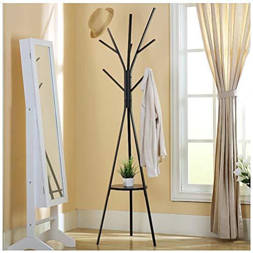 NIUZIMU kapstok, moderne vloerstandaard, hoed en kapstok, kledingrek, entree, portemonnee, displayhal, boom, metaal, mat zwart, 45 x 45 x 180 cm, zwart