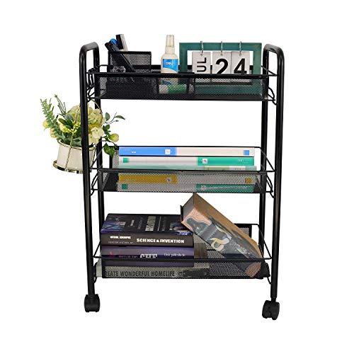 YX-lle Home - Carrito de cocina con 3 niveles con ruedas bloqueables, carrito de almacenamiento con cesta de malla de metal para verduras para cocina, hogar, oficina, cuarto de baño