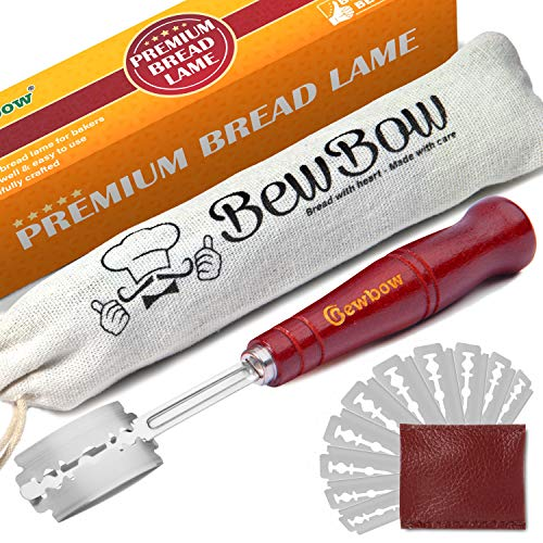 Premium Hand Crafted Bread Lame Set with 10 Blades included, Drawstring Cloth Bag and Leather Protective Cover Protecting the Blade for Re-use and Keeping It Clean– Great Ideas for Professional Bakers