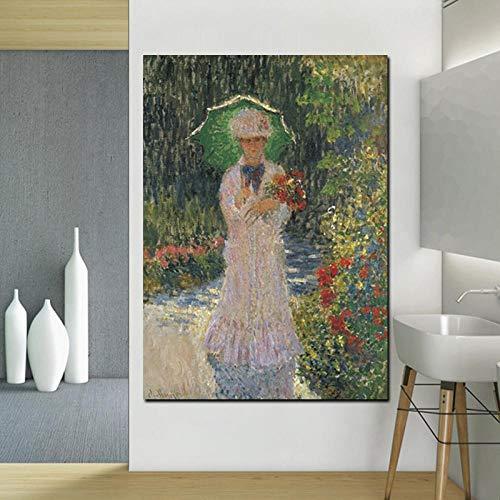 JinYiGlobal Leinwand Kunstdruck Claude Monet Walk Frau mit einem Sonnenschirm Ölgemälde auf Leinwand Pop Art Wandbilder für Wohnzimmer 60x90cm Kein Rahmen