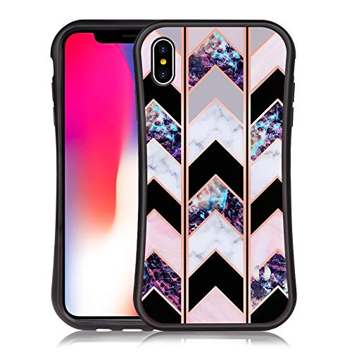 BestCasee iPhone X/iPhone Xs Case Shiny Rose Gold Wave Geometric Marble Case Slim Soft TPU Rubber Bumper Silicone Hockproof Protective Cover for iPhone X/iPhone Xs 5.8 inch [Black]