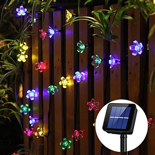 guirnalda luces exterior solar Panpany luces decorativas exterior 22 pies lucessolaresexterior 50 led de luz impermeable para decorar jardín, naviad de árbol, fiesta