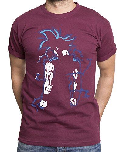 Sambosa Goku T-Shirt pour Homme Goku Dragon Master Son Ball Vegeta Turtle Roshi DB, Farbe2:Weinrot;Größe2:XXL