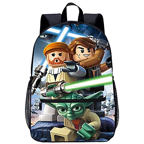 Zaino scuola stampato in 3D Borsa da scuola per bambini -LEGO Star Wars III Le Guerre dei Clonida viaggio unisex di moda Borsa da scuola-Dimensioni: 45x30x15 cm/17 pollici-Zainetto Asilo Bambino