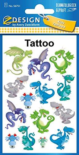 AVERY Zweckform 56751 Tattoo Kinder 14 Stück (Temporäre Tattoos Drachen, Kinder Tattoo wasserfest, Klebetattoos, Kindergeburtstag, Mitgebsel, Partyspiele Preise, Kinder zum Spielen, Tattoo Jungen)