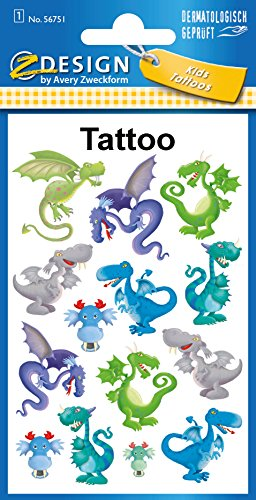 AVERY Zweckform 56751 Tattoo Kinder 14 Stück (Temporäre Tattoos Drachen, Kinder Tattoo wasserfest, Klebetattoos, Kindergeburtstag, Mitgebsel, Partyspiele Preise, Kinder zum Spielen, Tattoo Jungen)