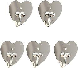 IMIKEYA 10 Pcs Adhesive Hooks Stainless Steel Heart Wall Hooks Waterproof Hanger Holder Sticky on Hooks Organizer for Coat...