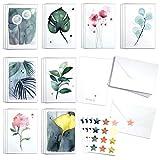 Blule Box mit 24 botanischen Gemälden Grußkarten mit Umschlägen und Siegelaufklebern für alle Anlässe