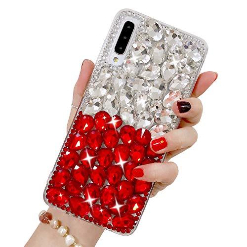 Luxus Glitzer Hülle für Galaxy A70, Misstars 3D Bling Diamant Handyhülle Transparent Hart PC Rückschale mit Silikon TPU Rahmen Schutzhülle für Samsung Galaxy A70, Silber+Rot