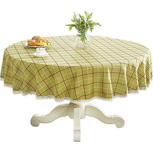 Hong Jie Yuan 100% Polyester Auslaufsicher Tischdecke - Runde Tischdecke aus Baumwolle und Leinen Dicke Tischdecke im europäischen Stil for die Dekoration von Küchentischplatten