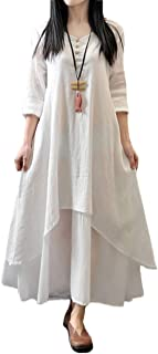 Romacci Women Boho Dress Casual Irregular Maxi Dresses Layer Vintage Loose Long Sleeve Linen Dress with Pockets,Large,White