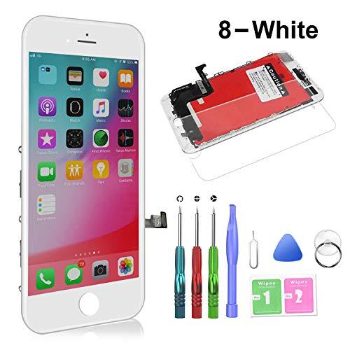 HTECHY Kompatibel mit iPhone 8 Display Weiß, LCD Touchscreen Digitizer Display, Ersatz Bildschirm Eine illustrierten Reparaturanleitung & Ersatzbildschirm Komplettes Werkzeug