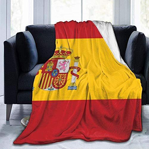 kglkb Manta De Franela para Sofa,Mantas para Sofá Cama Bandera De España,Suave,Lujoso,Acogedor,Cálido,Mullido,Manta De Felpa para Cama